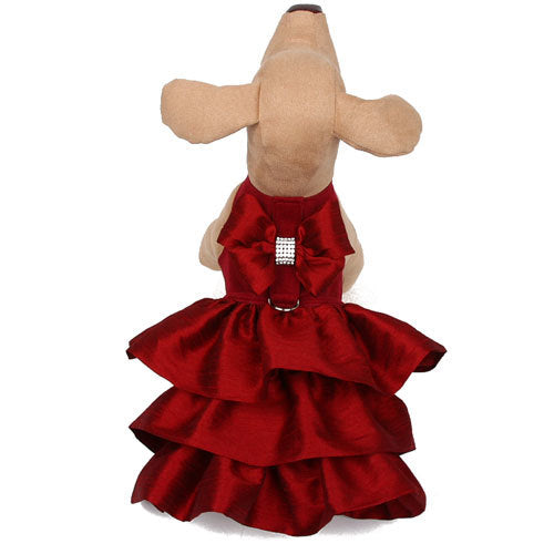 BURGUNDY MADISON COUTURE DOG DRESS HARNESS, DRESS - Bones Bizzness