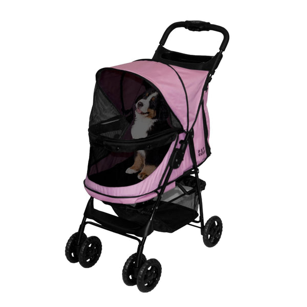 HAPPY TRAILS NO ZIP PET STROLLER - PINK, STROLLERS - Bones Bizzness