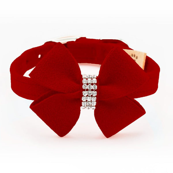RED NOUVEAU BOW DOG COLLARS