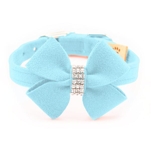 TIFFI BLUE NOUVEAU CRYSTAL BOW DOG COLLARS (42 COLORS), Collars - Bones Bizzness
