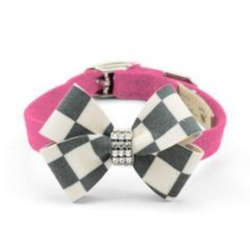 WINDSOR CHECK NOUVEAU BOW DOG COLLAR - PERFECT PINK, Collars - Bones Bizzness