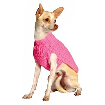 PINK CABLE KNIT WOOL DOG SWEATER, Sweaters - Bones Bizzness