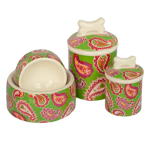 PALM BEACH PAISLEY COLLECTION DOG BOWLS & TREAT JAR, Bowls - Bones Bizzness