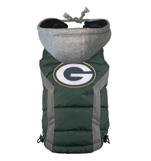 GREEN BAY PACKERS NFL DOG PUFFER VEST, NFL COATS - Bones Bizzness