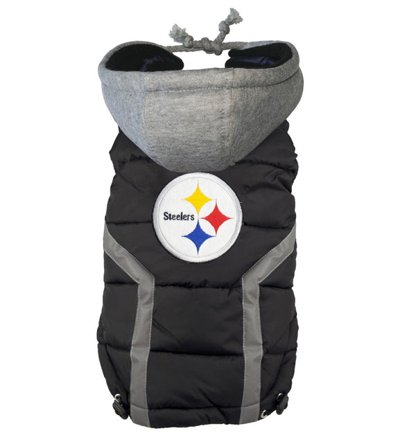 PITTSBURGH STEELERS NFL DOG PUFFER VEST, NFL COATS - Bones Bizzness