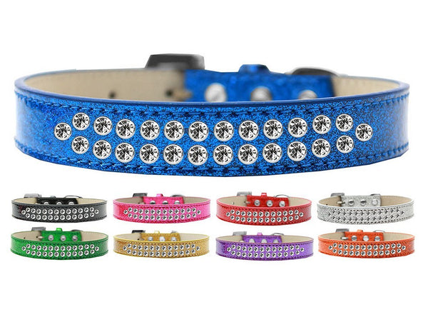 TWO ROW ICE CREAM CRYSTAL CLEAR DOG COLLAR (9 COLORS), Collars - Bones Bizzness
