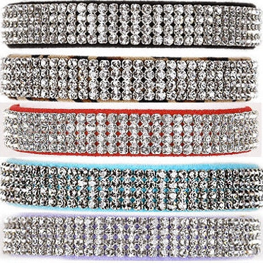 GILTMORE 4 ROW CRYSTAL ULTRASUEDE DOG COLLARS - (42 COLORS), Collars - Bones Bizzness