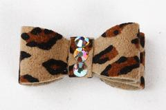 CHEETAH PLAIN HAIR BOW, HAIR BOW - Bones Bizzness