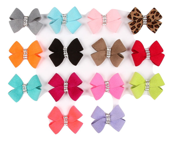 SWAROVSKI NOUVEAU BOW DOG HAIR BOWS - (42 COLORS), HAIR BOW - Bones Bizzness