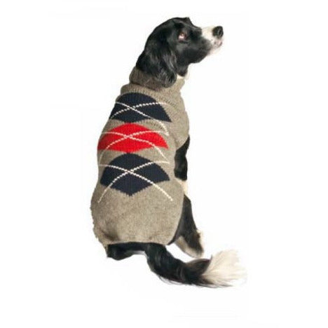 GRAY ARGYLE DOG SWEATER - Bones Bizzness