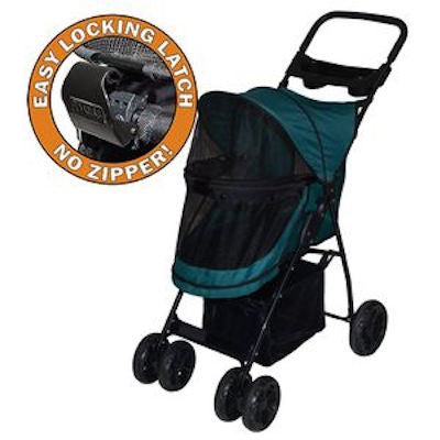 HAPPY TRAILS NO ZIP LITE DOG STROLLER PINE GREEN, STROLLERS - Bones Bizzness