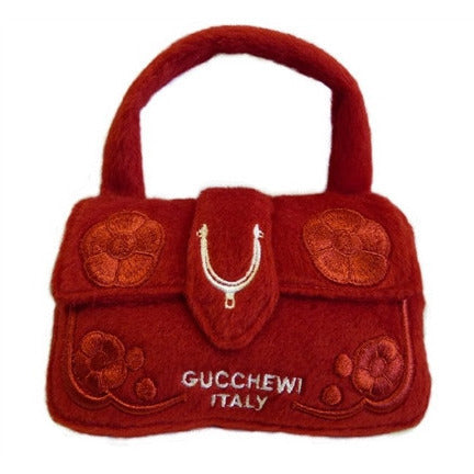 GUCCHEWI RED FLORAL PURSE DOG TOY, Toys - Bones Bizzness