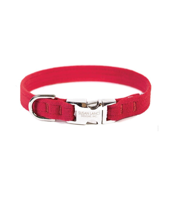 PERFECT FIT ULTRASUEDE DOG COLLAR BY SUSAN LANCI - RED, Collars - Bones Bizzness