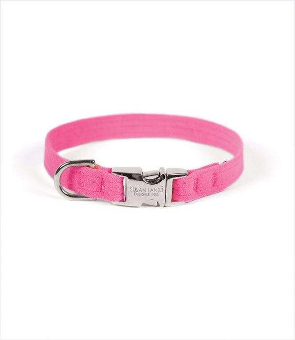 PERFECT FIT ULTRASUEDE DOG COLLAR BY SUSAN LANCI - PERFECT PINK, Collars - Bones Bizzness