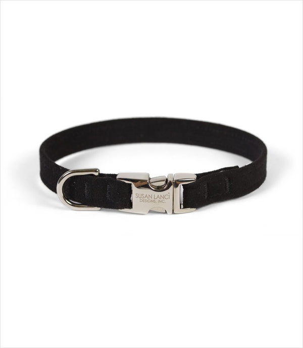 PERFECT FIT ULTRASUEDE DOG COLLAR BY SUSAN LANCI - BLACK, Collars - Bones Bizzness