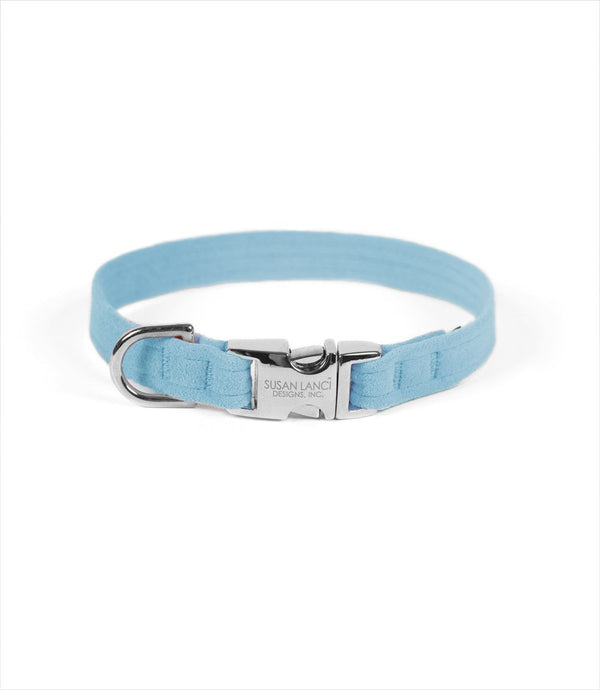 PERFECT FIT ULTRASUEDE DOG COLLAR BY SUSAN LANCI - TIFFI BLUE, Collars - Bones Bizzness