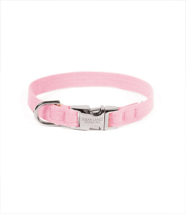 PERFECT FIT ULTRASUEDE DOG COLLAR BY SUSAN LANCI - PUPPY PINK, Collars - Bones Bizzness
