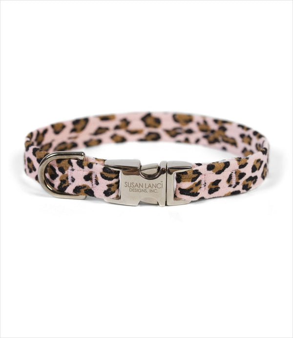PERFECT FIT ULTRASUEDE DOG COLLAR BY SUSAN LANCI - PINK CHEETAH COUTURE, Collars - Bones Bizzness