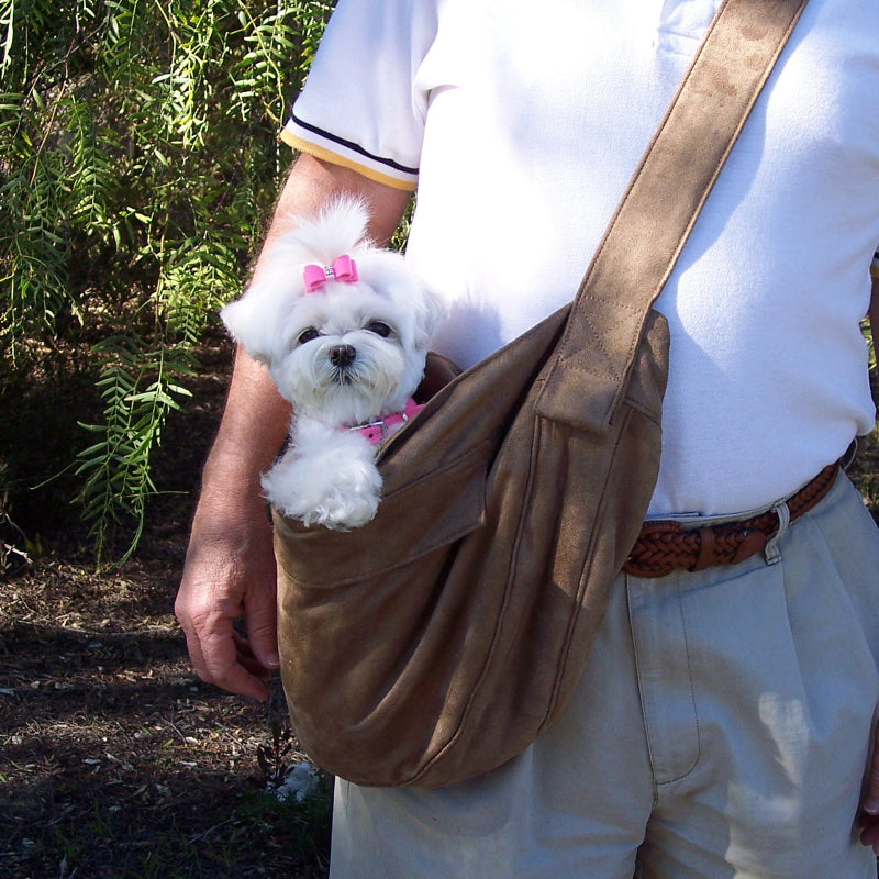CUDDLE DOG CARRIER BY SUSAN LANCI - FAWN LUXE SUEDE, Carriers - Bones Bizzness