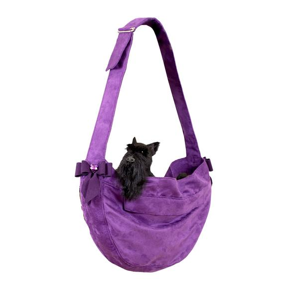 CUDDLE DOG CARRIER AMETHYST TAIL BOW HEART, Carriers - Bones Bizzness
