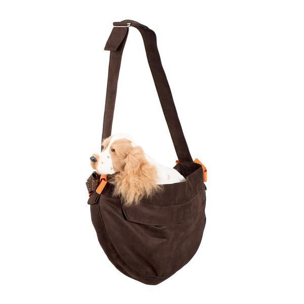 CUDDLE CARRIER CHOCOLATE & ORANGE NOUVEAU BOW, Carriers - Bones Bizzness