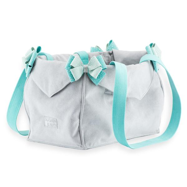 LUXURY PURSE TWO TONED PLATINUM & BIMINI BLUE DOG CARRIER- BY SUSAN LANCI, Carriers - Bones Bizzness