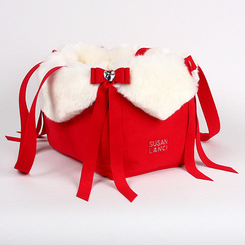 LUXURY PURSE RED WHITE FOX TAIL BOW DOG CARRIER - LIMITED EDITION, Carriers - Bones Bizzness