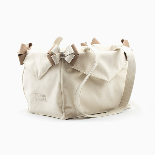 DOE NOUVEAU BOW SILVER STARDUST DOG CARRIER  - BY SUSAN LANCI, Carriers - Bones Bizzness