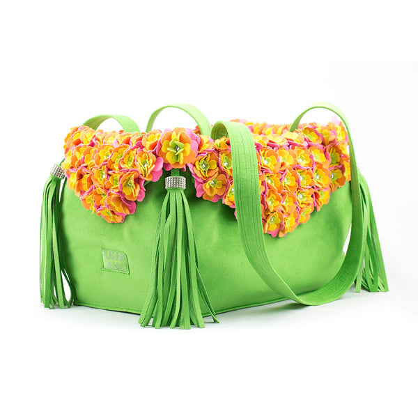 LUXURY PURSE TINKIE'S GARDEN GREEN DOG CARRIER - BY SUSAN LANCI, Carriers - Bones Bizzness