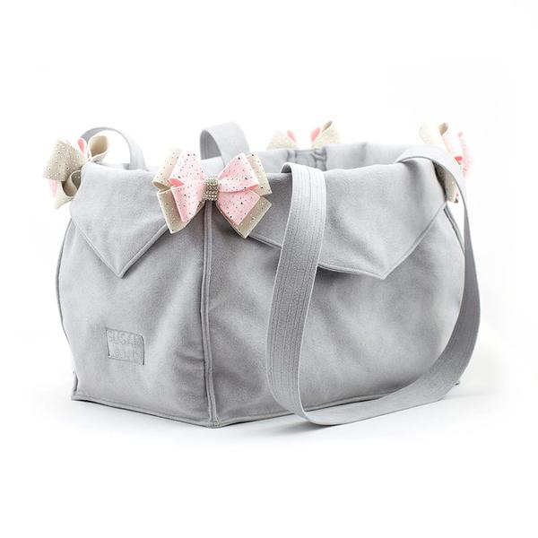 PLATINUM & PUPPY PINK LUXURY PURSE CARRIER  - BY SUSAN LANCI, Carriers - Bones Bizzness