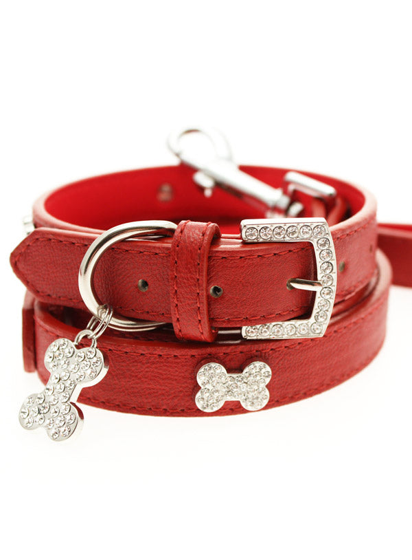RED DIAMANTE LEATHER & CHARM DOG COLLAR & LEASH SET, Collars - Bones Bizzness