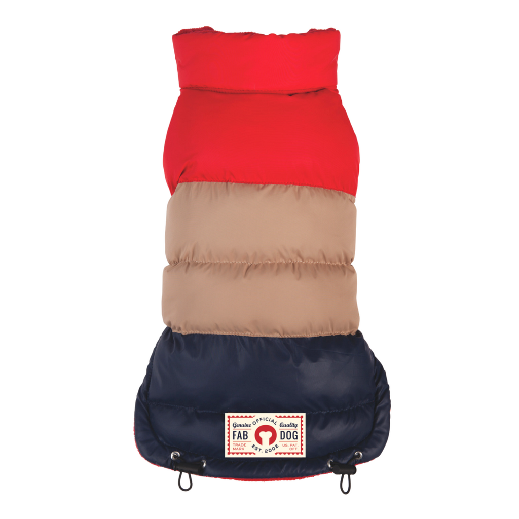 RED/TAN/NAVY COLORBLOCK PUFFER, Coats - Bones Bizzness