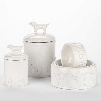 WHITE WOOF DOG BOWLS & TREAT JARS, Bowls - Bones Bizzness