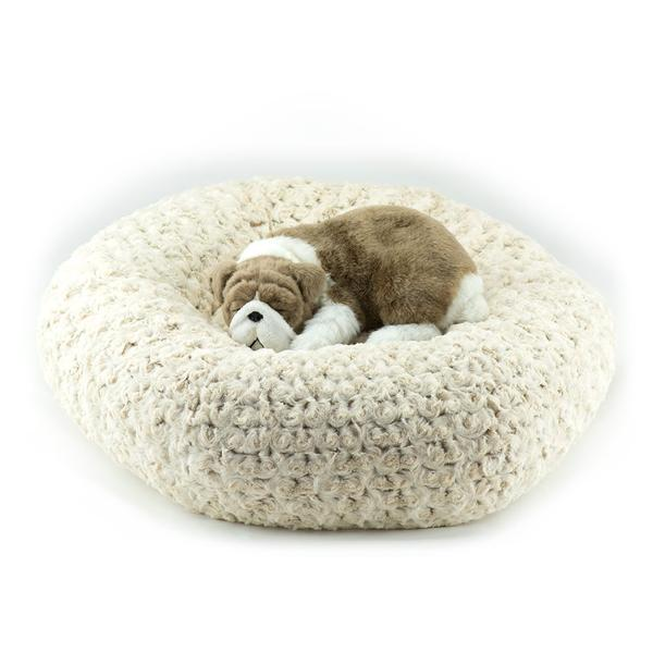 FROSTED CAMEL SHAG DOG BED