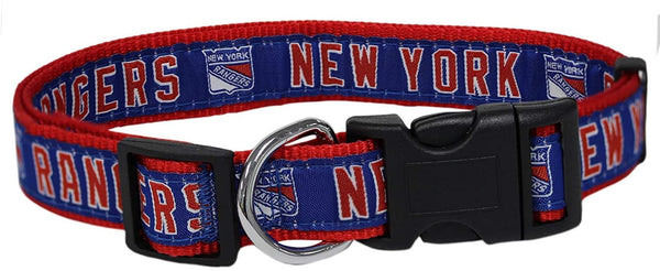 NEW YORK RANGERS DOG COLLAR- RIBBON