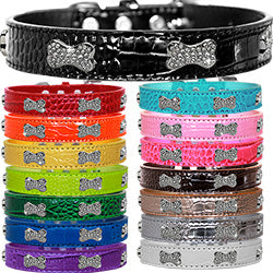 FAUX CROC CRYSTAL BONE DOG COLLAR (15 COLORS)