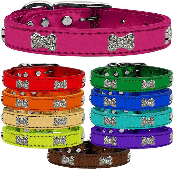CRYSTAL BONE METALLIC LEATHER DOG COLLARS (10 COLORS), Collars - Bones Bizzness