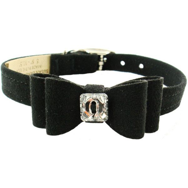 BLACK BIG BOW SWAROVSKI CRYSTAL DOG COLLAR (53 Colors), Collars - Bones Bizzness