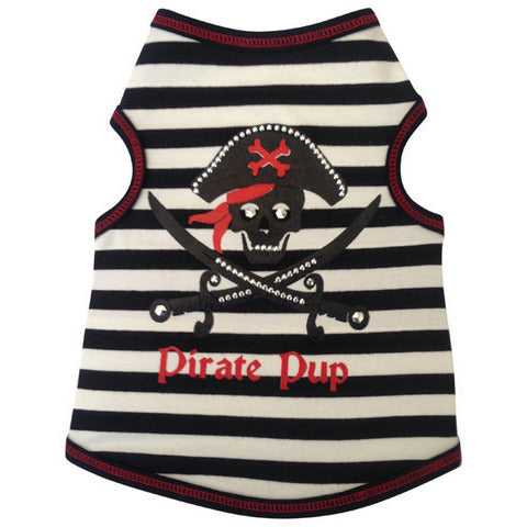 PIRATE PUP BLK/WHT STRIPED DOG TANK, Shirts Tanks & Tees - Bones Bizzness