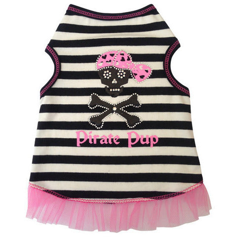 PIRATE PUP GIRL TANK BLK/WHT STRIPED, Shirts Tanks & Tees - Bones Bizzness