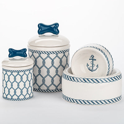 NAUTICAL HAND PAINTED DOG BOWLS & TREAT JARS, Bowls - Bones Bizzness