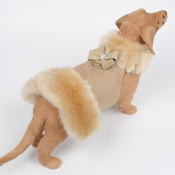 CHAMPAGNE FOX FUR IN CAMEL W/NOUVEAU BOW DOG COAT, Coats - Bones Bizzness