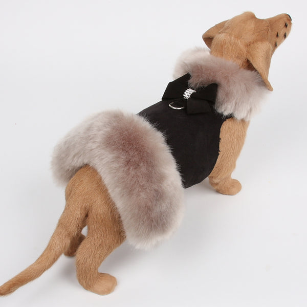 NOUVEAU BOW SOFT SILVER FOX FUR DOG COAT- BLACK, Coats - Bones Bizzness