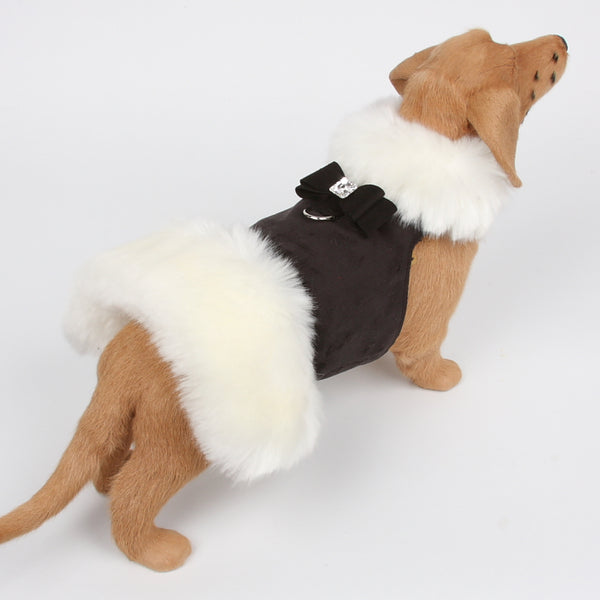 FAUX BIG BOW WHITE FOX FUR DOG COAT - BLACK, Coats - Bones Bizzness