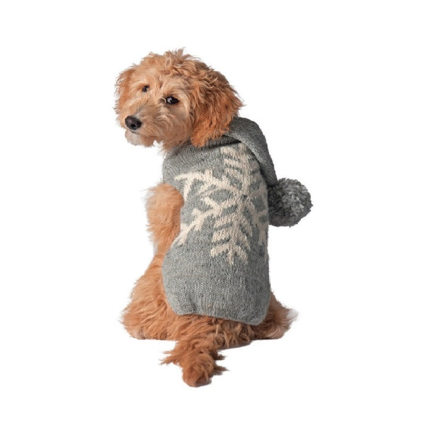 GREY ALPACA SNOWFLAKE DOG SWEATER - Bones Bizzness