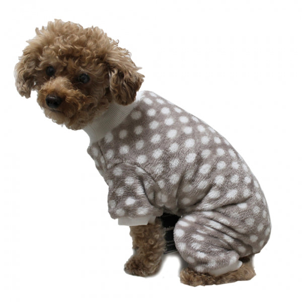 SUPER SOFT FLEECE GREY POLKA DOTS DOG PJ'S