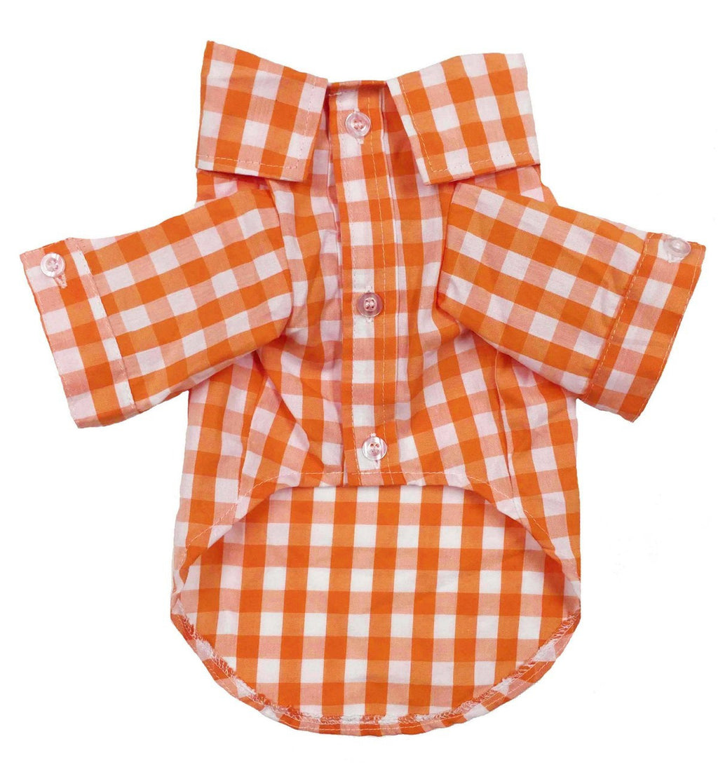 ORANGE PLAID BUTTON DOWN SHIRT, Shirts Tanks & Tees - Bones Bizzness