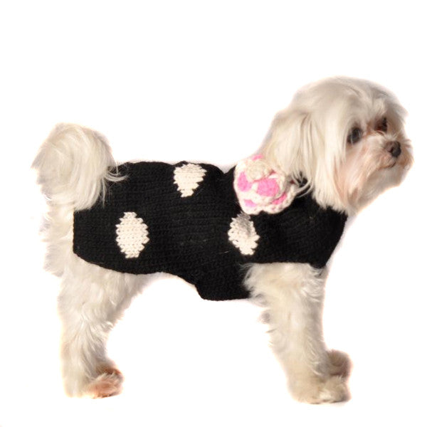 BLACK POLKA DOT PINK DOG SWEATER - Bones Bizzness
