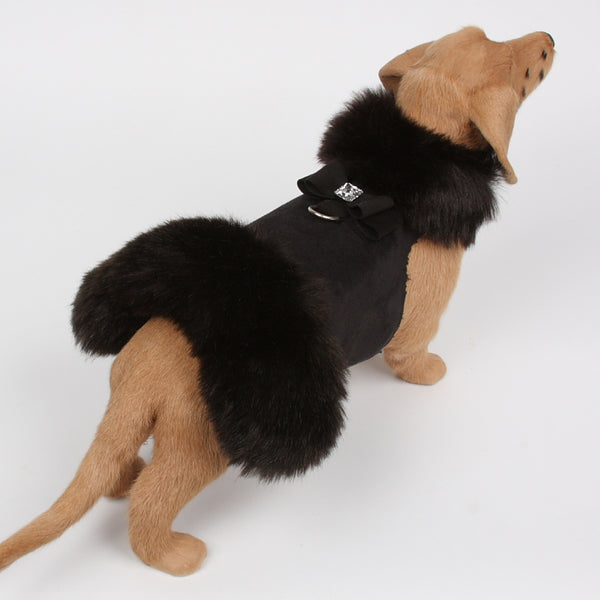 BIG BOW CRYSTAL BLACK MINK FUR DOG COAT- BLACK, Coats - Bones Bizzness