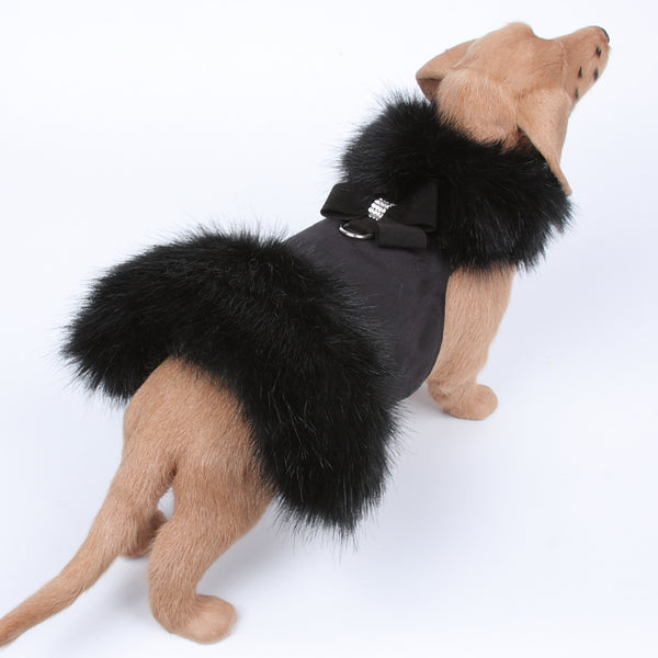 NOUVEAU BOW BLACK FUR DOG COAT- BLACK, Coats - Bones Bizzness